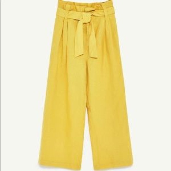 95d1dc11d5 Zara yellow paperbag pants wide leg